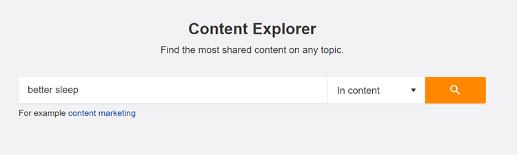 image of entering core topic in Ahref's content explorer tool