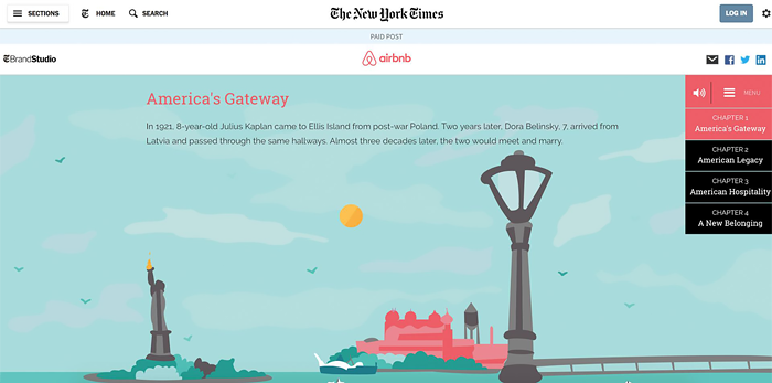 Airbnb's native ad in the New York Times