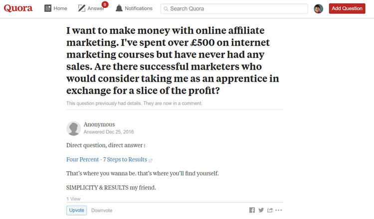 example of a bad answer on Quora