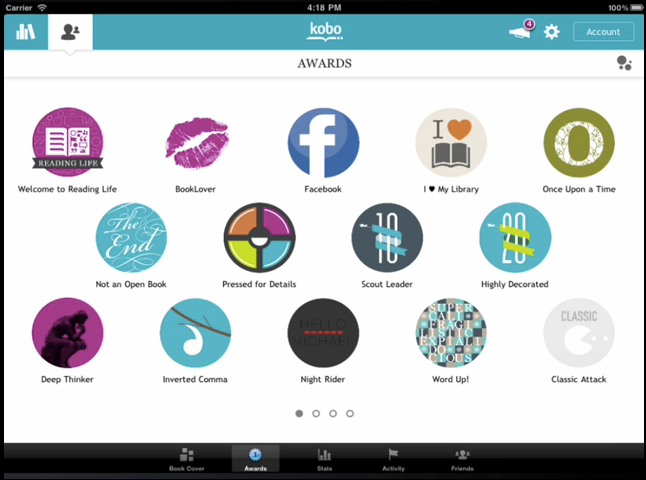 reading app Kobo gives users virtual rewards through the app onboarding process