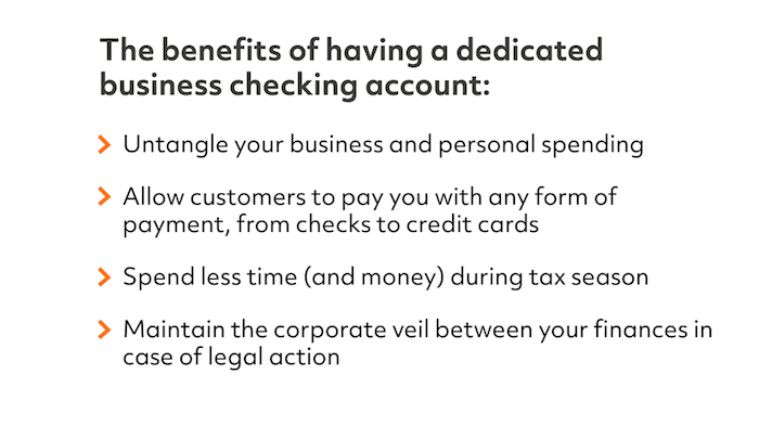 benefits of having a dedicated business checking account