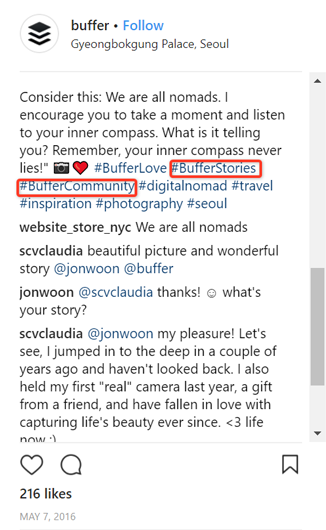 example of Instagram post from Buffer that uses unique, branded hashtags