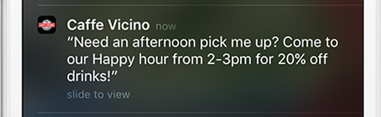 push notification from Caffe Vicinio