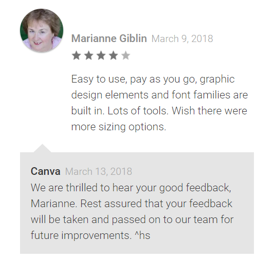 Canva app and positive feedback