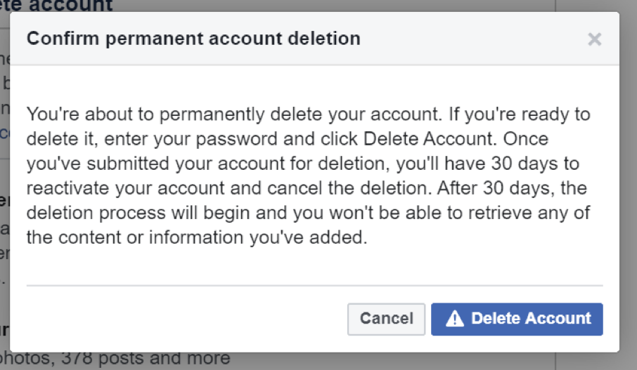 confirm permanent account deletion facebook