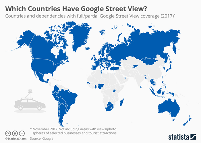 Image of countries with Google Maps