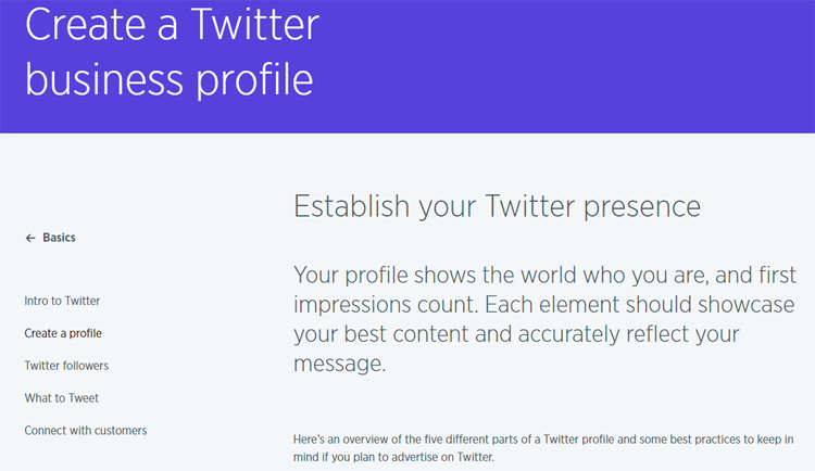 "Screenshot of ""Create a Twitter business page"""