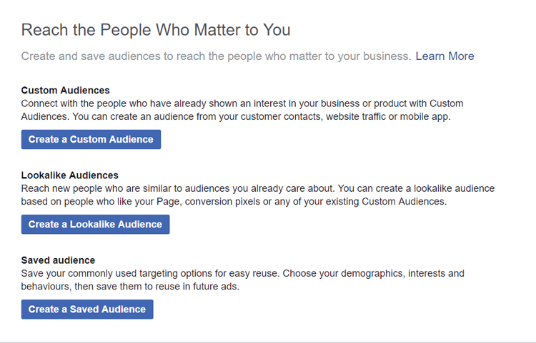 create custom audience in Facebook