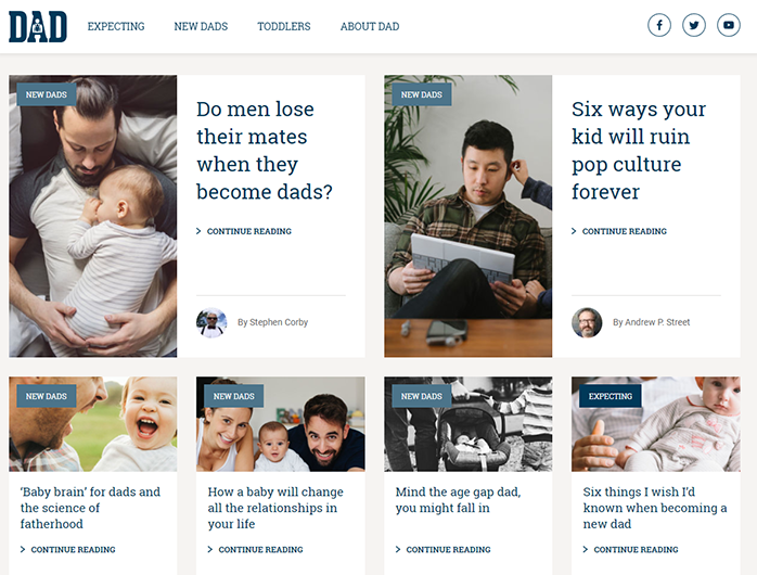 Direct Advice for Dads homepage
