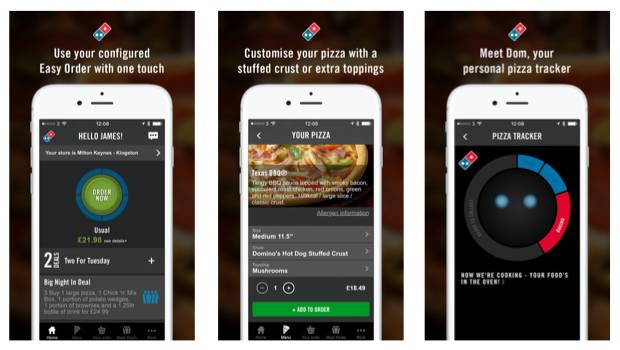 example of online ordering feature through Domino's Pizza's app