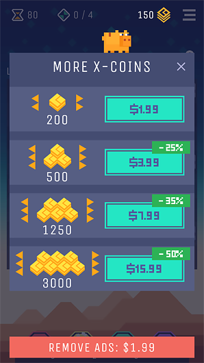 Example of in-app purchases in Double Dice