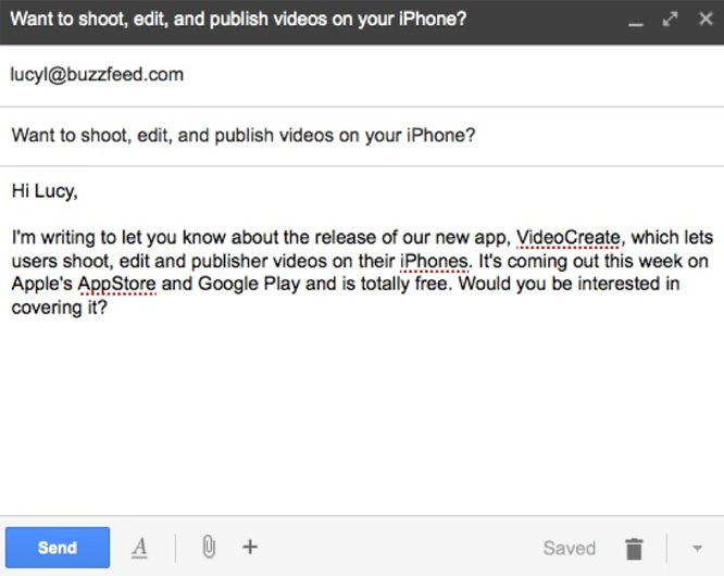 example of an influencer outreach email to promote a mobile app