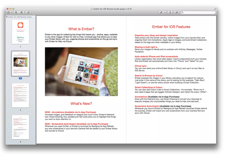 example of a press kit for a mobile app
