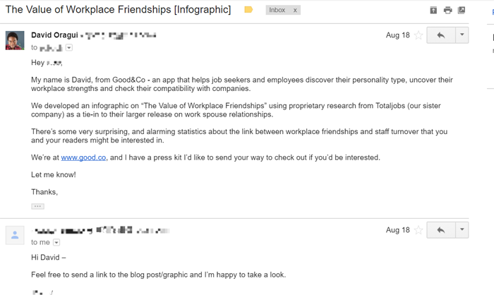 example of outreach email to get PR coverage