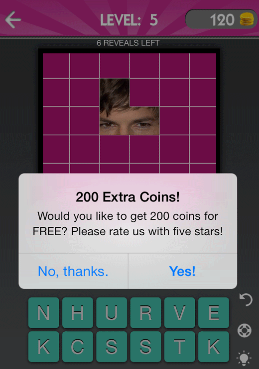 screenshot of game from Celebrity Guess