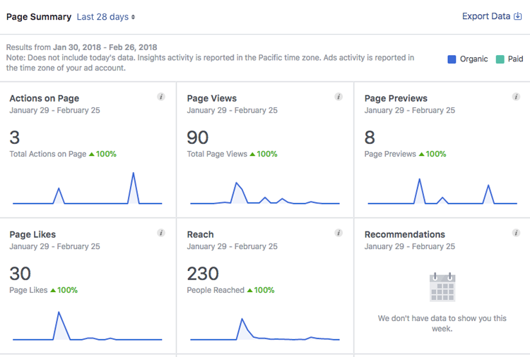 Facebook Insights dashboard on business profile page