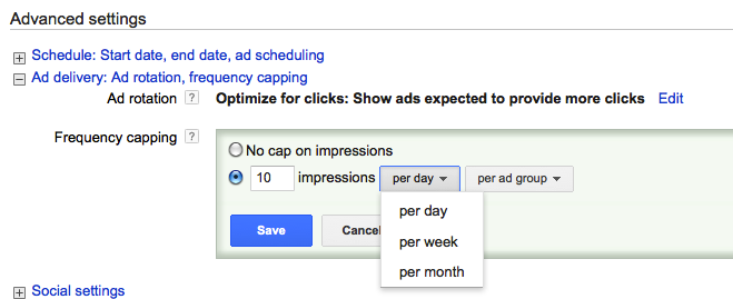 example of capping ad frequency in an ad dashboard