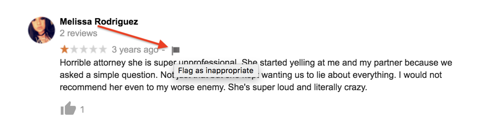 Google review flag as inappropriate