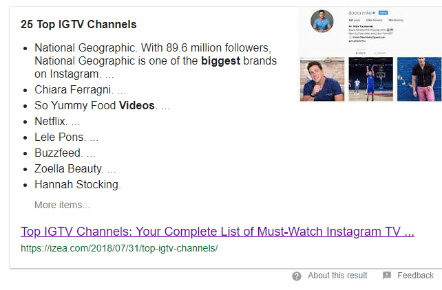 Top 25 IGTV Channels