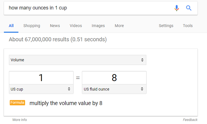 Google Quick Answer Example
