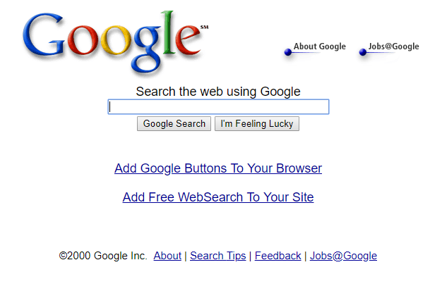Google search page in 2000