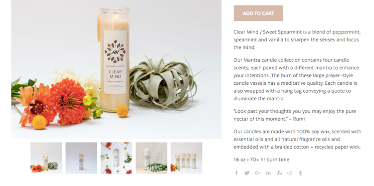 candle and product description on Handmade Habit's website