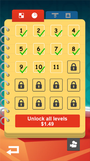 example of paying to unlock new levels to make money with a mobile app