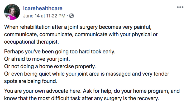 For example, Callahan posted on Facebook information about what people should do post-surgery to ensure a full recovery.