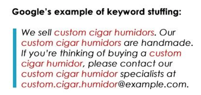 Example of keyword stuffing