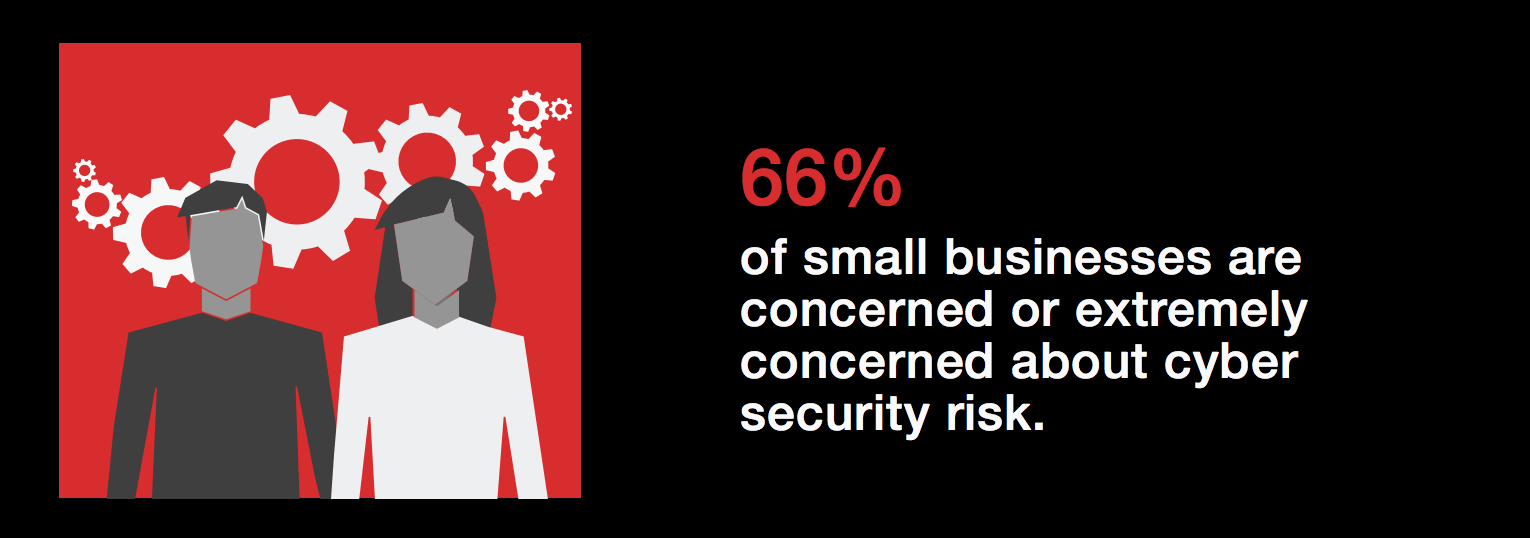 66% of small businesses are concerned or extremely concerned about cyber security risks