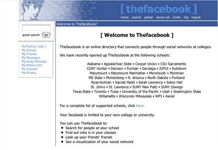 Early screenshot of Facebook