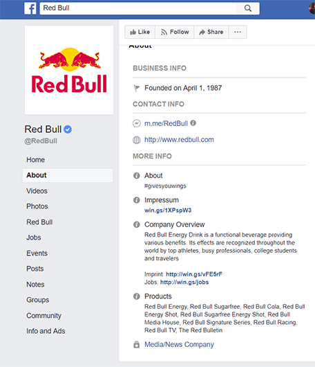 Facebook Red Bull page