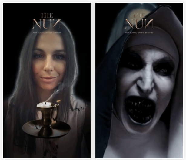The Nun Snapchat face filter