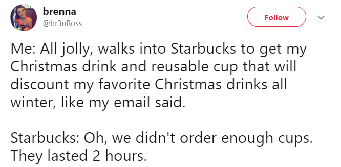 Starbucks 2018 holiday cups tweet