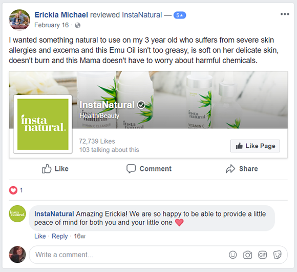 Instanatural Facebook post