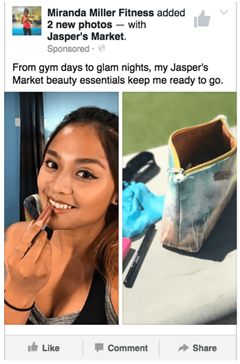 Facebook influencer promoting Jasper's Market by posting about beauty products she bought