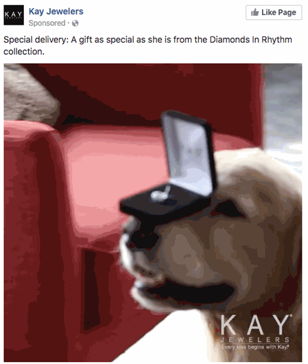 Kay Jewelers' native ad on Facebook