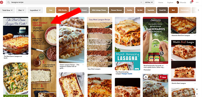 Prego in Pinterest search