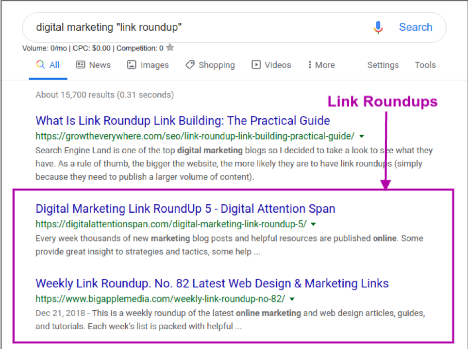 link roundup search engine results page
