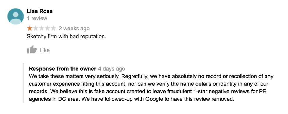 false negative review on Google