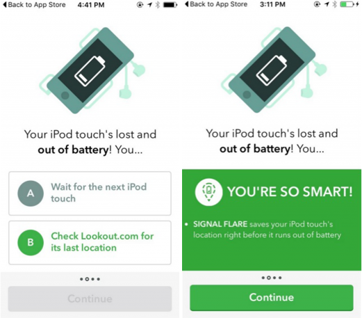 interactive quiz engages app users during app onboarding process