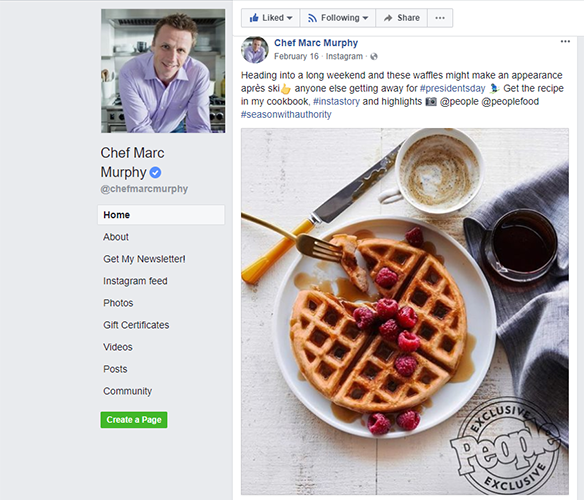 Chef Marc Murphy Facebook page