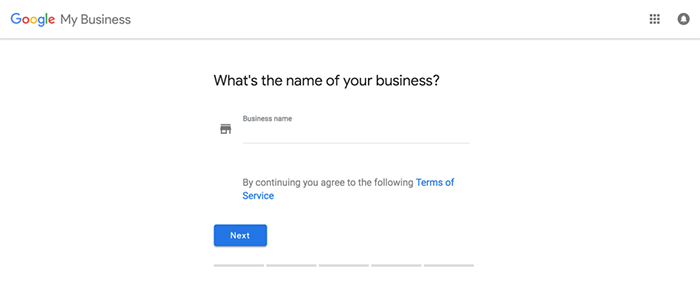 Start of Google My Business signup