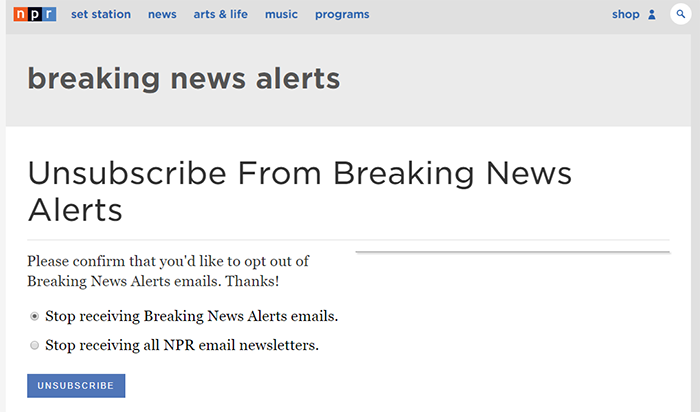 NPR email example