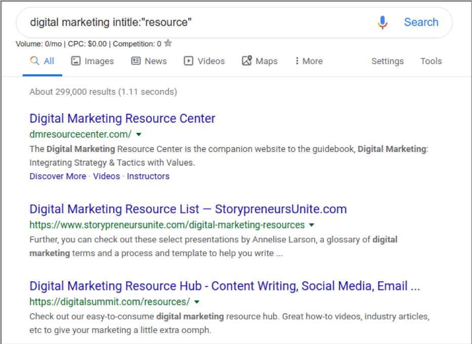search engine results page for pitching links to resource pages