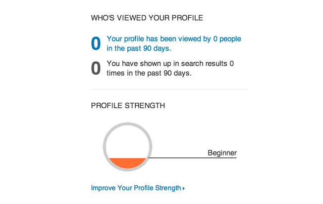 progress bar for LinkedIn showing app user's place in the on-boarding process.