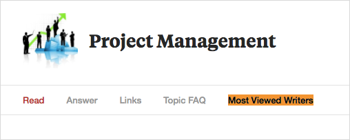 "screenshot of ""most viewed writers"" on project management on Quora"
