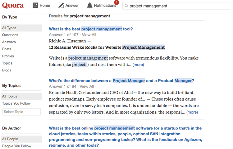 "example of searching for the topic, ""project management"" on Quora"