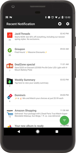 push notifications from Groupon, Dominos, and other brands