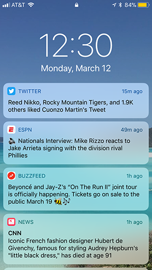 Screenshot of push notifications